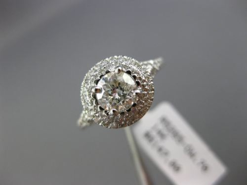 ESTATE 1.14CT DIAMOND 14KT WHITE GOLD DOUBLE HALO CLASSIC ROUND ENGAGEMENT RING