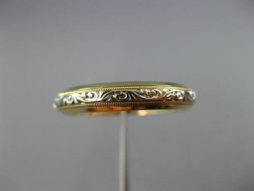ANTIQUE 14KT WHITE & YELLOW GOLD 3D FILIGREE ETERNITY WEDDING ANNIVERSARY RING