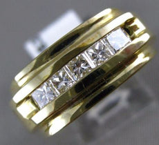 ESTATE LARGE .63CT PRINCESS DIAMOND 14KT YELLOW GOLD 5 STONE INVISIBLE MENS RING