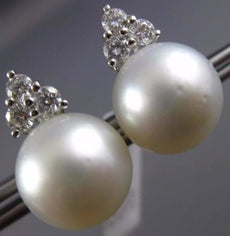 LARGE .60CT DIAMOND & AAA SOUTH SEA PEARL 18K WHITE GOLD 3D FLOWER STUD EARRINGS