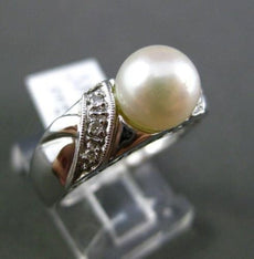 ESTATE .05CT DIAMOND & SOUTH SEA PEARL 14KT WHITE GOLD 3D FILIGREE MILGRAIN RING