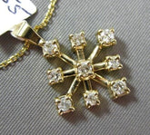 ESTATE .35CT DIAMOND 14KT YELLOW GOLD 3D SNOWFLAKE SUNBURST FLOATING PENDANT