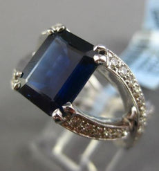 ESTATE LARGE 3.70CT DIAMOND & SAPPHIRE 18KT WHITE GOLD INFINITY ENGAGEMENT RING