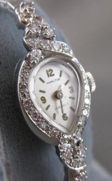 "ANTIQUE .70CTW OLD MINE EURO CUT DIAMOND 14K WHITE GOLD HAMILTON WATCH 7"" #2069"