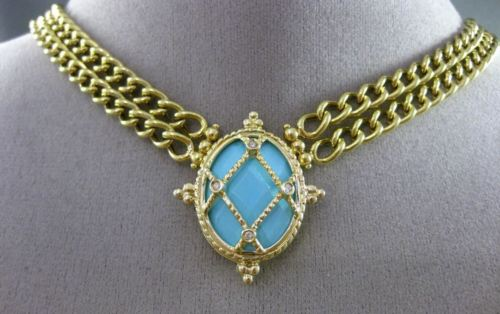 ANTIQUE DIAMOND & AAA TURQUOISE 14KT YELLOW GOLD ETOILE FILIGREE OVAL NECKLACE