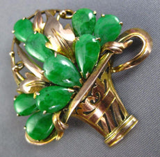 ANTIQUE AAA JADE 14KT YELLOW & ROSE GOLD 3D HANDCRAFTED FLOWER BASKET PIN BROOCH
