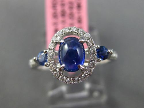 ANTIQUE WIDE 1.24CT DIAMOND & AAA SAPPHIRE 18KT WHITE GOLD OVAL ENGAGEMENT RING