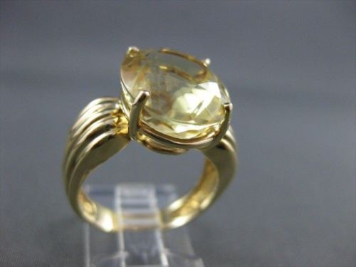 ESTATE XL LARGE EXTRA FACET 10CTW YELLOW TOPAZ OVAL 14K YELLOW GOLD RING # 1005