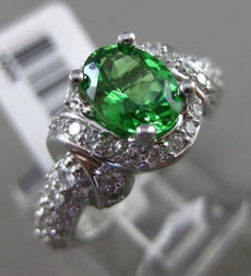 ESTATE WIDE 2.28CT DIAMOND & EXTRA FACET PERIDOT 14K WHITE GOLD 3D INFINITY RING
