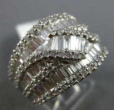 ESTATE LARGE 2.61CT BAGUETTE & ROUND DIAMOND 18KT WHITE GOLD 3D MULTI ROW RING