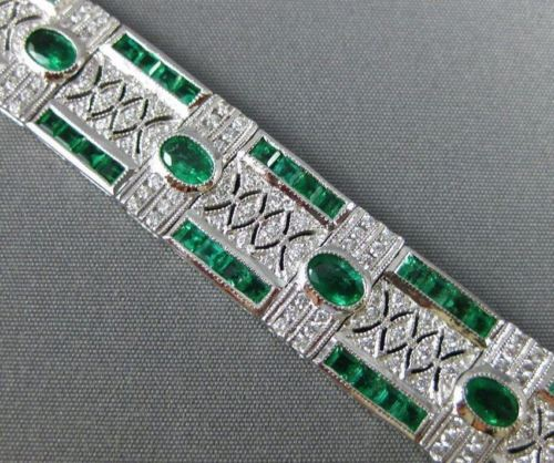 ANTIQUE 8.47CT DIAMOND & AAA COLOMBIAN EMERALD 14K WHITE GOLD 3D TENNIS BRACELET
