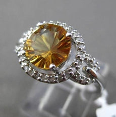ESTATE 1.82CT DIAMOND & EXTRA FACET CITRINE 14KT WHITE GOLD HALO ENGAGEMENT RING