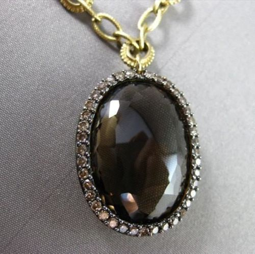 ANTIQUE LARGE 28.86CT FANCY DIAMOND & AAA SMOKEY TOPAZ 14KT YELLOW GOLD NECKLACE
