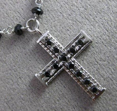ESTATE .30CT BLACK DIAMOND & ONYX 14KT WHITE GOLD FILIGREE ROSARY CROSS NECKLACE