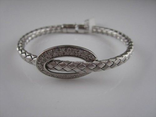ESTATE WIDE FILIGREE MESH DIAMOND 14K WHITE GOLD BANGLE