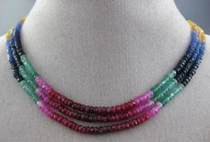 ESTATE 40CT MULTI COLOR SAPPHIRE RUBY & EMERALD 3D MULTI STRAND RAINBOW NECKLACE