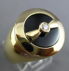 ESTATE LARGE .08CT DIAMOND & AAA ONYX 18KT YELLOW GOLD ETOILE BOW TIE MENS RING