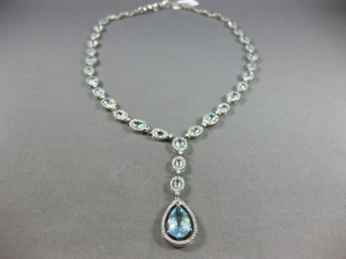 LARGE 22.98CT DIAMOND & AAA AQUAMARINE 14KT WHITE GOLD 3D LARIAT TENNIS NECKLACE