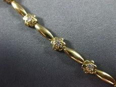 ANTIQUE .35CT DIAMOND 14KT YELLOW GOLD DAISY FLOWER BRACELET JUST AMAZING #7565