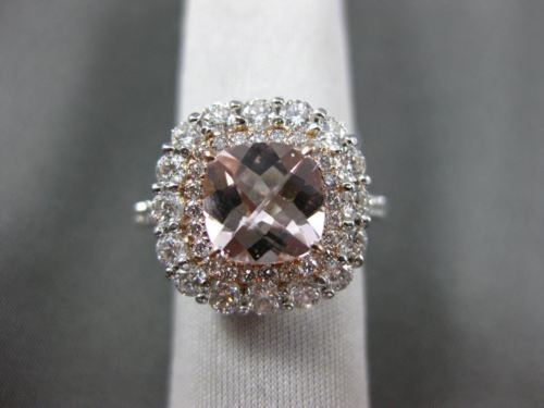 ESTATE 3.15CT DIAMOND & AAA MORGANITE 14KT ROSE GOLD DOUBLE HALO ENGAGEMENT RING