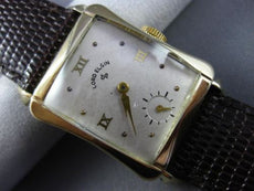 ANTIQUE LARGE LORD ELGIN 14KT YELLOW GOLD CLASSIC RECTANGULAR MENS WATCH #25636