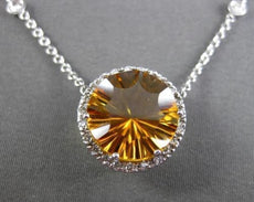 ESTATE LARGE 5.86CTW DIAMOND & AAA CITRINE 14K WHITE GOLD HALO FLOATING NECKLACE