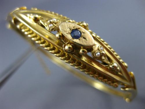 ANTIQUE .10CT AAA SAPPHIRE & PEARL 14KT YELLOW GOLD 3D BANGLE BRACELET #20982