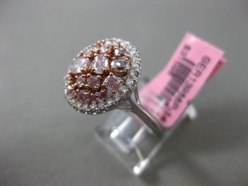 ESTATE LARGE 2.0CT WHITE & PINK DIAMONDS 18K GOLD MULTI SHAPE ROUND CLUSTER RING