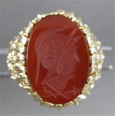ANTIQUE CARNELIAN INTAGLIO SOLDIER 14K YELLOW GOLD FILIGREE MENS RING 24M #20010