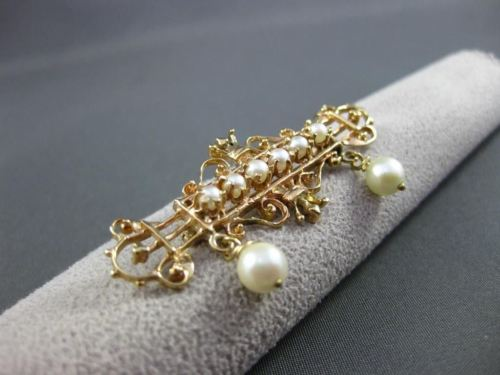 ANTIQUE 14K YELLOW GOLD & AAA SOUTH SEA PEARL VICTORIAN CROWN BROOCH / PIN 22527