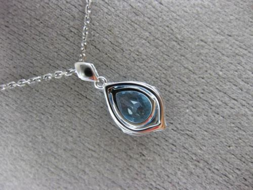 ESTATE 1.46CT DIAMOND & AAA BLUE TOPAZ 14K WHITE GOLD TEAR DROP FILIGREE PENDANT