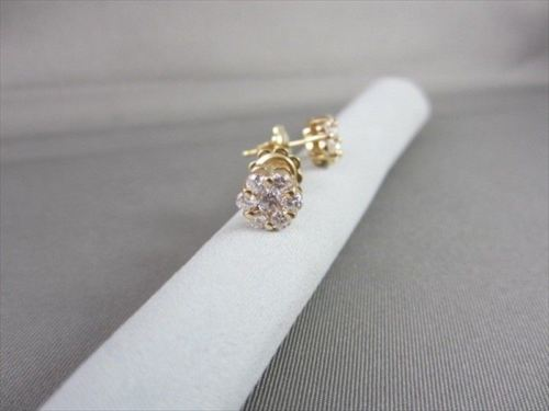 ANTIQUE 1.14 CT 14KT YELLOW GOLD 3D CLUSTER FLOWER STUD EARRINGS F/G VS #21802