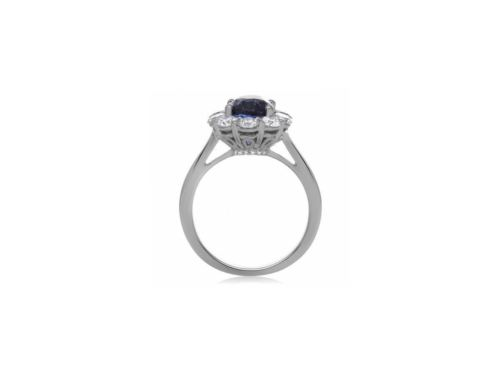 LARGE GIA CERTIFIED 4.0CT DIAMOND & AAA SAPPHIRE 14K WHITE GOLD ENGAGEMENT RING