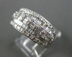 ANTIQUE WIDE 1.20CT BAGUETTE & ROUND DIAMOND 14KT WHITE GOLD WEDDING RING #21988