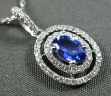 ESTATE .75CT DIAMOND & SAPPHIRE 18K WHITE GOLD DOUBLE HALO OVAL FLOATING PENDANT