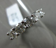 ESTATE LARGE 1.73CT DIAMOND 14K WHITE GOLD 5 STONE SHARED PRONG ANNIVERSARY RING