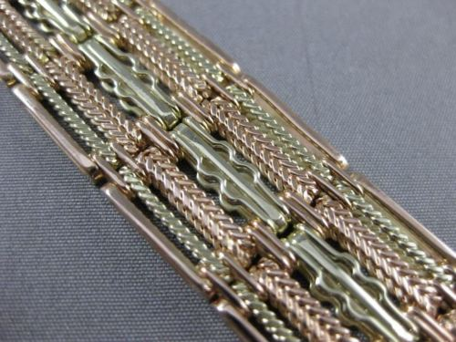ANTIQUE 17MM WIDE 14KT YELLOW ROSE GOLD FILIGREE WATCH BAND 6 3/4 INCHES #20440