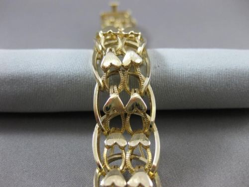 ESTATE WIDE & LONG 14KT YELLOW GOLD HANDCRAFTED DOUBLE HEART BRACELET #22596