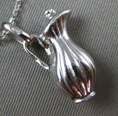 ESTATE 14KT WHITE GOLD 3D HANDCRAFTED PITCHER JAR CHARM PENDANT & CHAIN #25219
