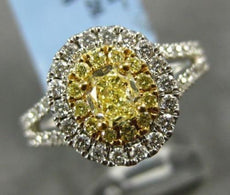 WIDE 1.36CT WHITE & FANCY YELLOW DIAMOND 18KT TWO TONE GOLD HALO ENGAGEMENT RING