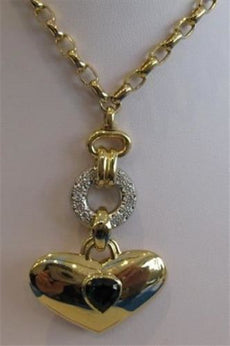 ANTIQUE 4.25CT DIAMOND TOURMALINE 18KT TWO TONE GOLD HANGING HEART NECKLACE 1985