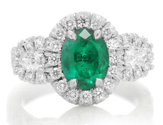 GIA CERTIFIED 2.71CT DIAMOND & AAA EMERALD PLATINUM 3D 3 STONE HALO PROMISE RING