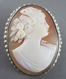 ANTIQUE 14KT WHITE HAND CARVED LADY SHELL CAMEO W/ SOUTH SEA PEARLS PENDANT 2093