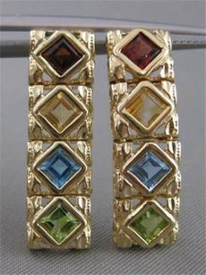 ESTATE 3.75CTW MULTI GEMS 14KT YELLOW GOLD HANGING FILIGREE LINE EARRINGS #20860