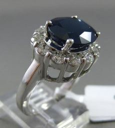 ESTATE WIDE 7.92CT DIAMOND & SAPPHIRE 14KT WHITE GOLD OVAL HALO ENGAGEMENT RING