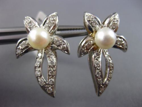 LARGE .50CT DIAMOND & AAA SOUTH SEA PEARL 14K WHITE GOLD 3D FLOWER LEAF EARRINGS