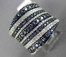 ESTATE LARGE 2.14CT DIAMOND & SAPPHIRE 14KT WHITE GOLD MULTI ROW COCKTAIL RING