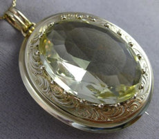 ANTIQUE MASSIVE 60CT AAA GREEN AMETHYST 14K YELLOW GOLD PENDANT PIN BROOCH 25500