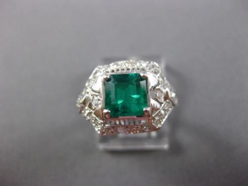 ANTIQUE 1.50CT DIAMOND & AAA COLOMBIAN EMERALD PLATINUM ENGAGEMENT RING #26091