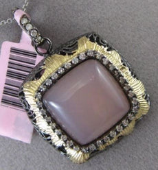 ESTATE LARGE 7.45CT DIAMOND & PINK QUARTZ 14KT TWO TONE GOLD FILIGREE PENDANT